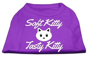 Softy Kitty, Tasty Kitty Screen Print Dog Shirt Purple Lg (14)